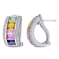 Multi-Color Created Sapphire Cuff Earrings in Sterling Silver