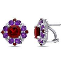 Garnet and African-Amethyst Floral Cluster Earrings in Sterling Silver