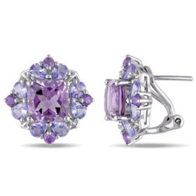 3.8 CT. T.G.W. Amethyst and 2.08 CT. T.G.W. Tanzanite Floral Cluster Earrings in Sterling Silver
