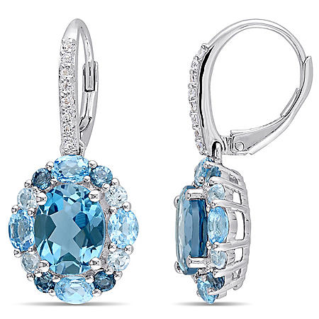 5.56 CT. T.G.W. London-Blue Topaz 1.6 CT. T.G.W. Swiss-Blue Topaz 0.6 CT. T.G.W. Sky-Blue Topaz and 0.16 CT. T.G.W. White Topaz LeverBack Earrings in Sterling Silver