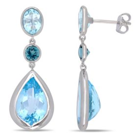 14.9 CT. T.G.W. Sky-Blue Topaz and 0.6 CT. T.G.W. London-Blue Topaz Teardrop Earrings in Sterling Silver