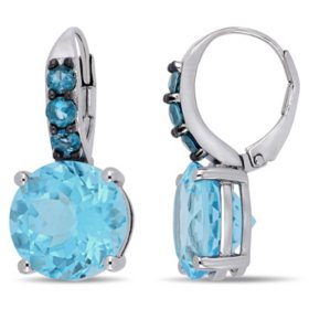 14.5 CT. T.G.W. Sky-Blue Topaz and 0.78 CT. T.G.W. London-Blue Topaz Leverback Earrings in Sterling Silver