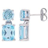 Blue Topaz Dangle Earrings in Sterling Silver