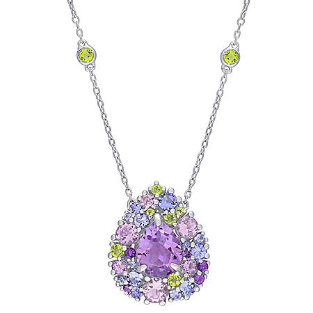 4.66 CT. T.G.W. Tanzanite, Rose de France Peridot and Amethyst Station Mosaic Necklace in Sterling Silver