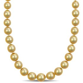 Allura 10-12.5 MM Champagne South Sea Cultured Pearl Strand Necklace in 14k Yellow Gold, 18""
