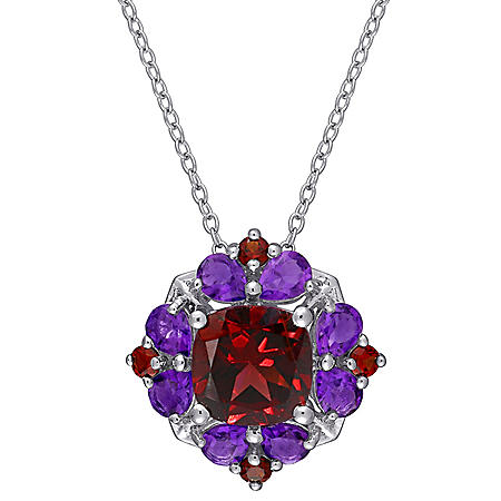 3.32 CT. T.G.W. Garnet and 1.12 CT. T.G.W. African-Amethyst Cocktail Pendant in Sterling Silver