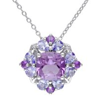 Amethyst and Tanzanite Cocktail Pendant in Sterling Silver