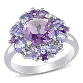 1.91 CT. T.G. W. Amethyst and 1.04 CT. T.G.W. Tanzanite Cocktail Ring in Sterling Silver