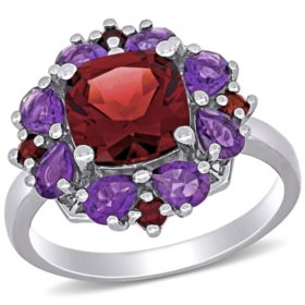 3.32 CT. T.G.W. Garnet and 1.12 CT. T.G.W. African-Amethyst Cocktail Ring in Sterling Silver