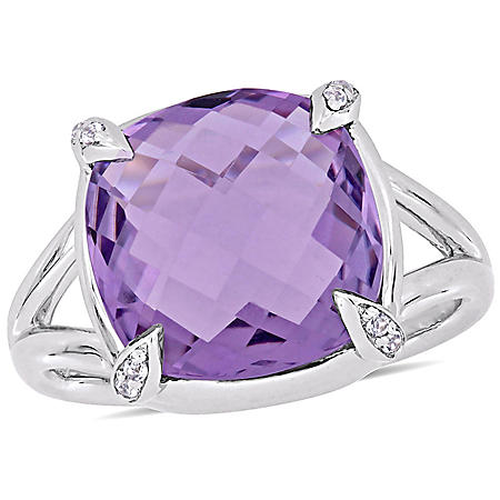 7.8 CT. Amethyst and White Topaz Cocktail Ring in Sterling Silver