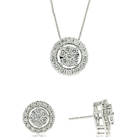 1.98 CT. T.W. Diamond Earring and Pendant Set in 14K Gold