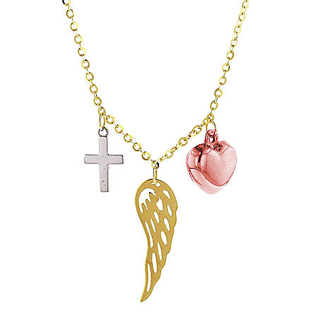 "14K Tri Color Cross Wing and Heart Necklace, 16""-18"""