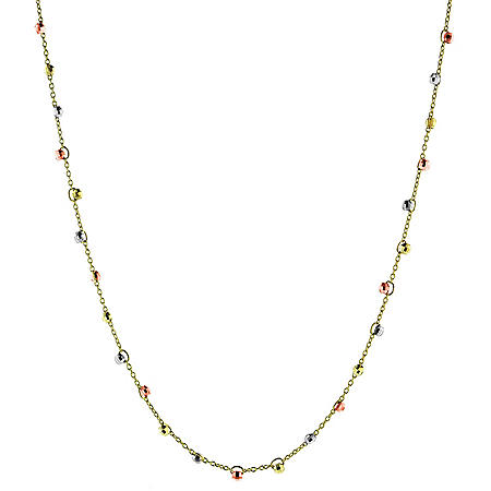 14K Gold Tri Color Beaded Necklace, 17-18""
