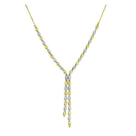"14K Two Tone Diamond Cut Beaded Necklace, 18"""