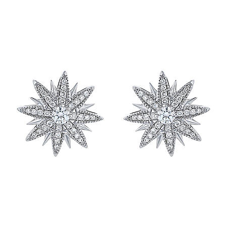 S Collection 1/2 CT. T.W. Diamond Star Earrings 14K White Gold