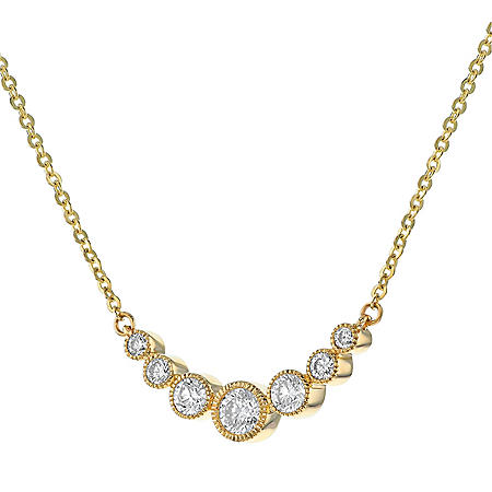 S Collection 1/2 CT. T.W. Curved Graduated Bar Necklace in 14K Yellow Gold