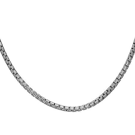 Italian Sterling Silver Diamond-Cut Box Chain Necklace, 24""