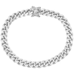 Italian Sterling Silver Diamond-Cut Cuban Chain Bracelet, 8.5""