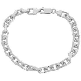 """Italian Sterling Silver Diamond-Cut Oval Rolo Chain Bracelet, 8.5"""""""
