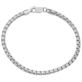 """Italian Sterling Silver Diamond-Cut Box Chain Bracelet, 8.5"""""""