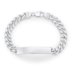 Italian Sterling Silver Polished Curb Chain ID Bracelet, 8.5""
