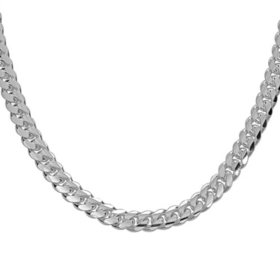 Italian Sterling Silver Polished Cuban Chain Necklace