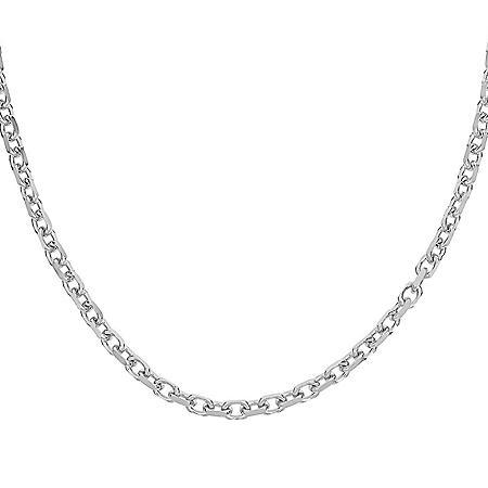 "Italian Sterling Silver Diamond-Cut Oval Rolo Chain Necklace, 24"""