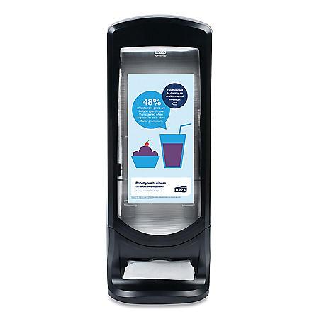 "Tork Xpressnap Stand Napkin Dispenser, 9.25""W x 9.25""D x 24.5""H, Black"