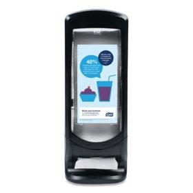 "Tork Xpressnap Stand Napkin Dispenser, 9 1/4""W x 9 1/4""D x 24 1/2""H, Black"