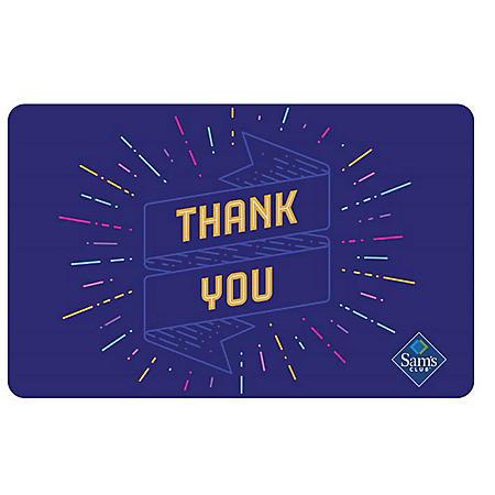 Sam's Club Thank You Ribbon Gift Card - Various Amounts