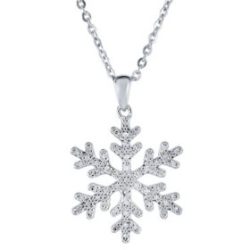925 Sterling Silver 0.11 CT. T.W. Diamond Snowflake Pendant