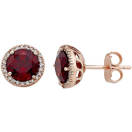 2.0 CT. T.W. Garnet and 0.13 CT. T.W. Diamond Earrings in 14K Rose Gold