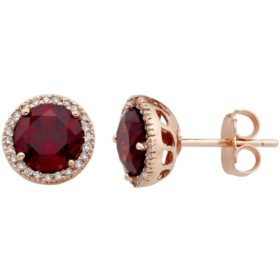 2.0 CT. T.W. Garnet and 0.13 CT. T.W. Diamond Earrings in 14K Rose Gold