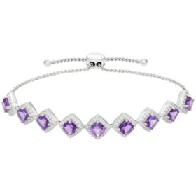 8.19 CT. Amethyst and White Topaz Bolo Bracelet in Sterling Silver