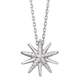 0.07 CT. T.W. Sterling Silver Diamond Starburst Pendant