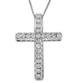 0.46 CT. T.W. Diamond Cross Pendant in 14K White Gold