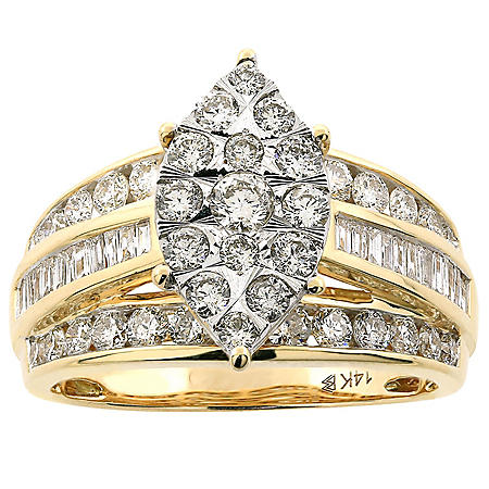 1.46 CT. TW. Diamond Marquise Shaped Engagement Ring in 14K Gold