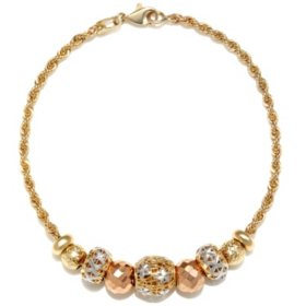 14K Tri-Color Bead Bracelet