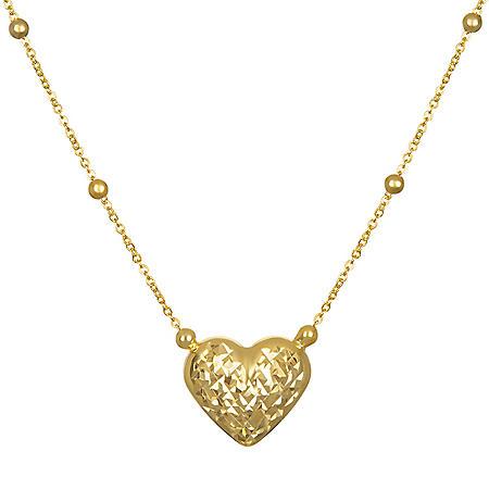 14K Yellow Gold Diamond Cut and High Polished Reversible Heart Pendant
