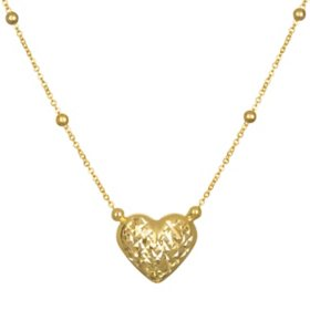 14K Yellow Gold Diamond Cut and High Polished Reversible Heart Pendant
