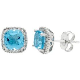 2.2 CT. T.W. Swiss Blue Topaz and 0.15 CT. T.W. Diamond Earrings in 14K White Gold
