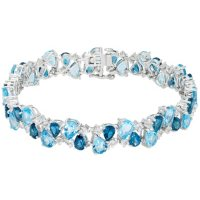 33.66 CT. London Blue Topaz, Swiss Blue Topaz, and Created White Sapphire Bracelet in Sterling Silver