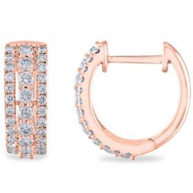 0.45 CT. T.W. Triple Row Diamond Hoop Earrings in 14K Gold
