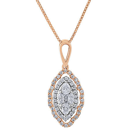 0.29 CT. T.W. Composite Diamond Marquise Shape Pendant in 14K Gold