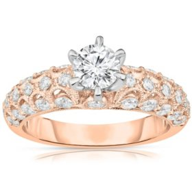 1.37 CT. T.W. Round Diamond Vintage-Style Engagement Ring in 14K Gold