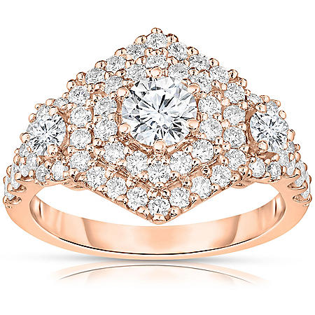 1.58 CT. T.W. Round Diamond Hexagon Double Frame Engagement Ring in 14K Gold
