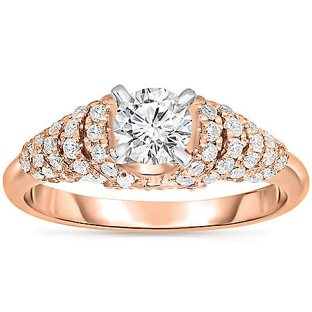 0.95 CT. T.W. Round Diamond Layered Collar Engagement Ring in 14K Gold