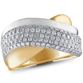 0.95 CT. T.W. Multi-Row Crossover Ring in 14K Gold