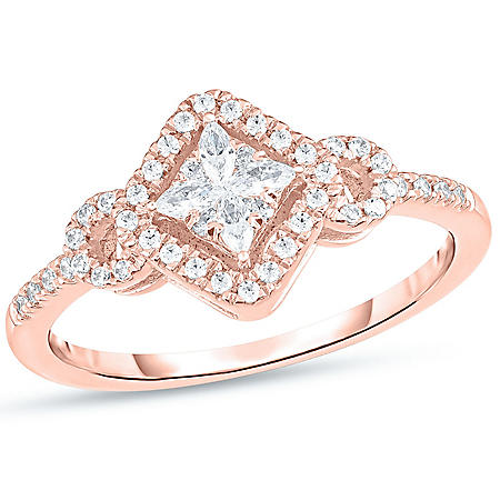 0.29 CT. T.W. Marquise and Round Kite-Shaped Frame Ring in 14K Gold