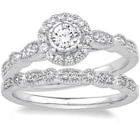 0.50 CT. T.W. Diamond Bridal Set in 14K White Gold